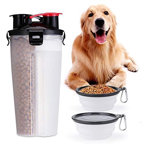 CHUER Tragbare Hund Trinkflasche und Futterflasche, 2-in-1 mit Faltbar Hunde Reisenapf (2er Set), Katzen Hunde Wasserflasche für Unterwegs, Wandern, Draussen, BPA Frei