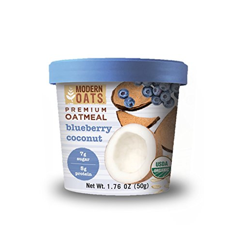 Modern Oats Premium Organic Oatmeal Cups, Blueberry Coconut, 1.76 Ounce Cup (Pack of 12)