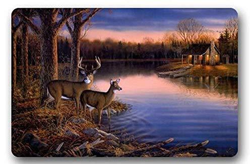 tiao9143 Badematte,Tür Teppich,Custom Deers at The Ege of The River Outdoor Washable Doormat Bath Kitchen Decor Area Rug Indoor Outdoors Bathroom Accessories