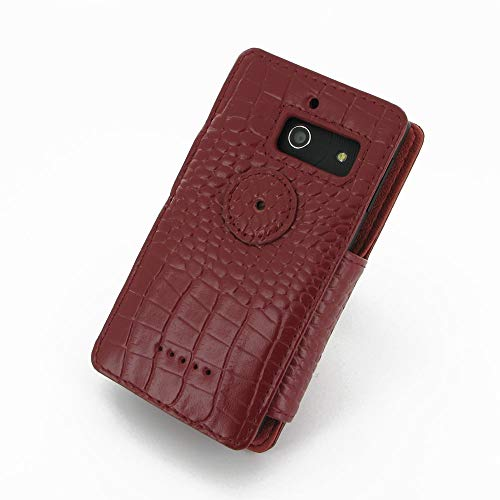 PDair Handarbeit Leder Book Hülle for Huawei Ascend W1 (Red Crocodile Pattern) - 6