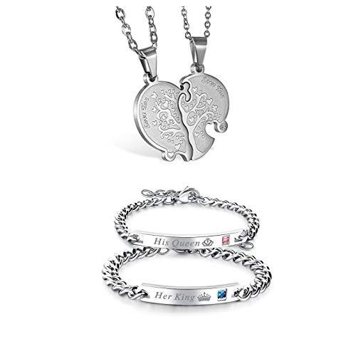 JewelryWe 1 Par Collares de Parejas Enamorados Corazón Partido, Colgante de Árbol de la Vida Dorado Plateado Collar Hombre Mujer Acero Inoxidable, Regalo de San Valentín (Collar+Pulsera King Queen 1)