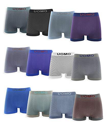 Channo Calzoncillos Boxer de Lycra sin Costuras con Rayas horizontales. Pack de 12 Boxer