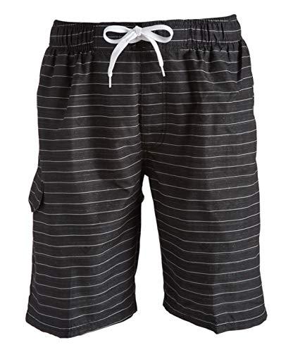 Kanu Surf Men's Echelon Swim Trunks (Regular & Extended Sizes), Line Up Black, Large
