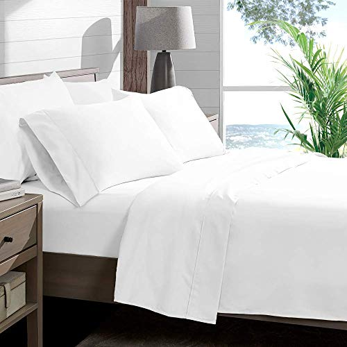 VGI Linen Top Selling Queen Sleeper Sofa 4-PCs Bed Sheet Set on Amazon !! Made From 400 TC Egyptian Cotton Quality Solid White Color, Queen Size Fits Pockets 4' Depth ( 60' x 74' + 4' )