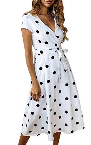 ECOWISH Damen Punkte Kleid V-Ausschnitt Sommerkleider Kurzarm Freizeitkleider Midi Strandkleid mit Grtel Wei S