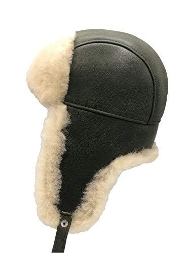 Mumcu's Leather Unisex Shearling Sheepskin Aviator Russian Soviet Ushanka Winter Leather Fur Trapper Hat (Medium, Crack Green)