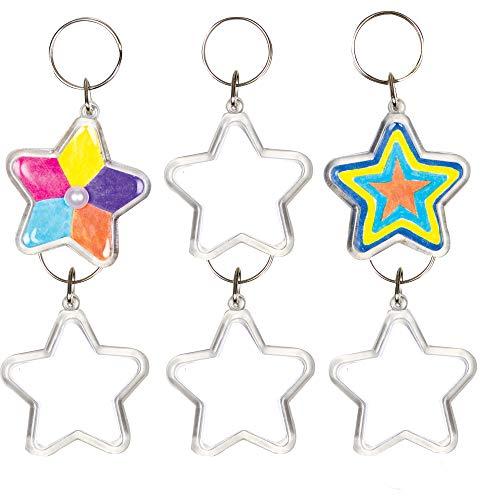 Baker Ross Kits de Porte-Clés Étoiles en Acrylique Que Les Enfants pourront Peindre, Décorer et Personnaliser (Lot de 6) AG220