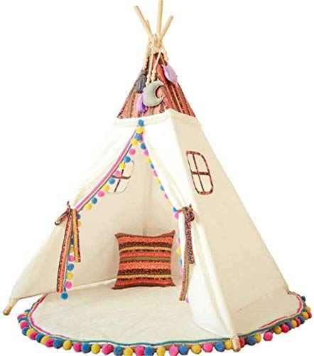 Woodtree Children's Tent Kids Teepee Play Tent Playhouse Classic Indian Style For Indoor Or Outdoor Play Play Tents (Color : White, Size : ONE SIZE),Size:One Size,Colour:White