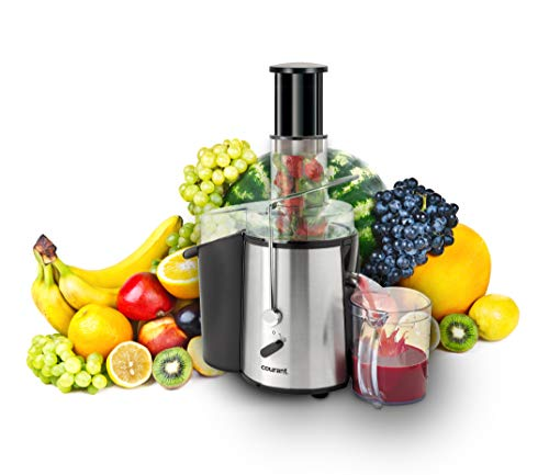 Courant juicer Juice Extractor, Power Juice Maker Machine, Wide Chute for Whole Fruits with 1.8L Extra Large Pulp Bin, Stainless Steel Blade and Mesh Strainer, Stainless Steal Black