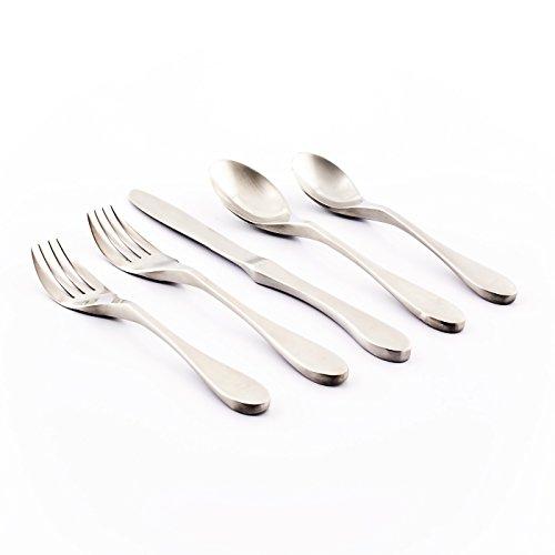 Knork Original Collection Cutlery Utensils 18/10 Stainless Steel Flatware Set, 20 Piece, Matte Silver