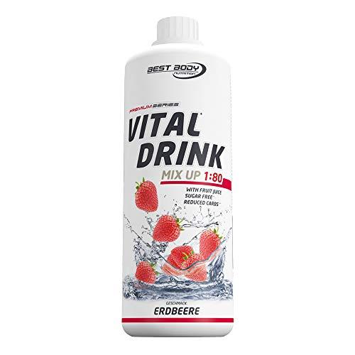 Best Body Nutrition Vital Drink Erdbeere, Getränkekonzentrat, 1000 ml Flasche