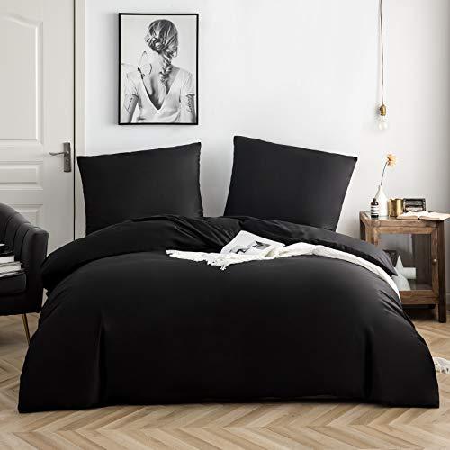 QZY Ropa de cama de algodón, 135 x 200 cm, color negro, 1 funda nórdica con 1 funda de almohada de 80 x 80 cm