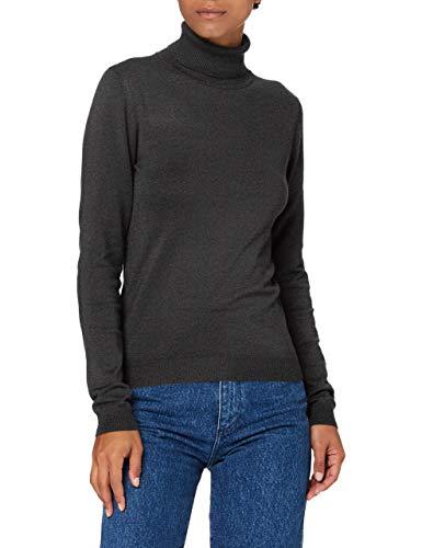 VERO MODA Damen VMGLORY LS Rollneck Blouse Color Pullover, Dark Grey Melange, XS