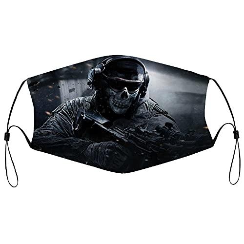 Best-design Pañuelo facial Ghost Call of Duty para adultos, transpirable, lavable y reutilizable