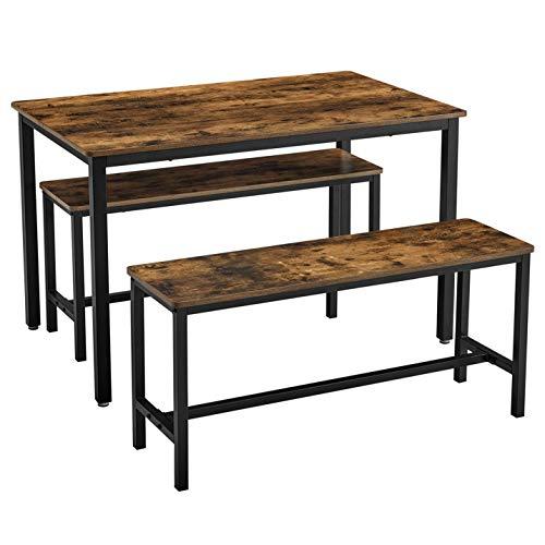 VASAGLE Esstisch, Küchentisch-Set, 110 x 70 x 75 cm, mit 2 Bänken je 97 x 30 x 50 cm, Metallgestell, für Küche, Wohnzimmer, Esszimmer, Industrie-Design, vintagebraun-schwarz KDT070B01