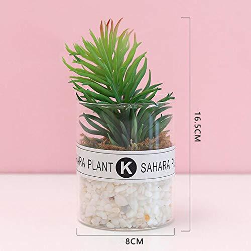 RUIZHISHUHome/Office Interieur met Kunstmatige Planten, Mini Nep Planten, met Transparante Glazen Potten,B