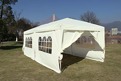 Kronenburg Faltpavillon wasserdicht Pavillon mit 6 Seitenteilen, Gartenzelt, 3x6 m - mit UV Schutz 50+, Champagner