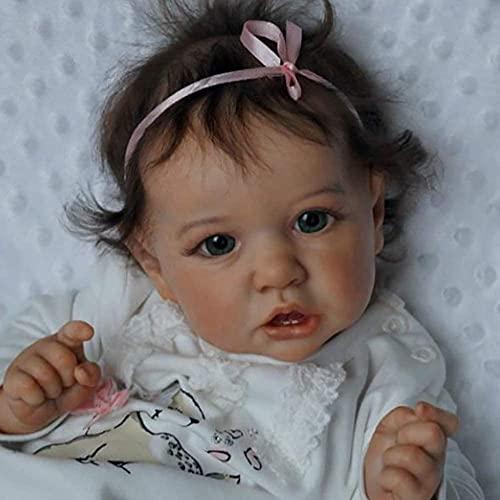 23 Pulgadas Abiertas Reborn Baby Dolls Realista Bebé Muñecas Linda Linda Lifelike Hecho a Mano Muñeca de Silicona Muñecas de Vinilo recién Nacido Cuerpo ponderado Suave-A Baifantastic