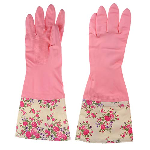 Wasserdichte Gummihandschuhe gefüttert Latexhandschuhe lang Spülhandschuhe Küchenhandschuhe für Winter Herbst - Pinke Blume