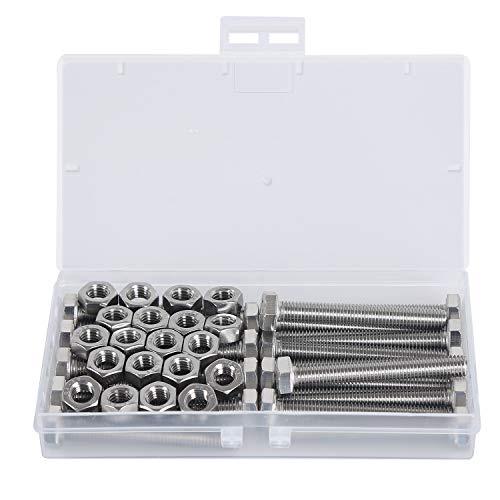 M8*60mm Sechskantschrauben Edelstahl 304 Maschinenschrauben Gewindeschrauben Voller Thread Schrauben und Muttern(Schraube 20PCS, Mutter 20PCS)