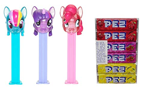 PEZ My Little Pony Candy Dispensers Set - Rainbow Dash, Twilight Sparkle, and Pinkie Pie All New Crystal Pez Dispensers With 6 Extra Candy Refills | My Little Pony Party Favors, Grab Bags