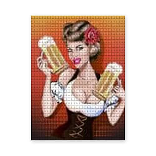 Pintura de diamante 5D DIY,Mujer de Oktoberfest con cerveza,pin up chica sexy del arte pop,Arte de imagen de bordado de diamantes de cristal de punto de cruz,20x24 inch