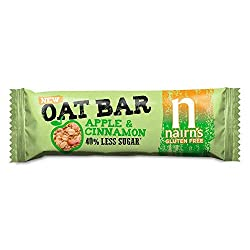 Gluten-free and baked oat flapjack bar with apple and cinnamon 40 Percent less sugar than the average fruit/cereal bar A natural and organic treat packed with the delicious flavours Perfect as a tasty organic snack or as a source of energy during exe...