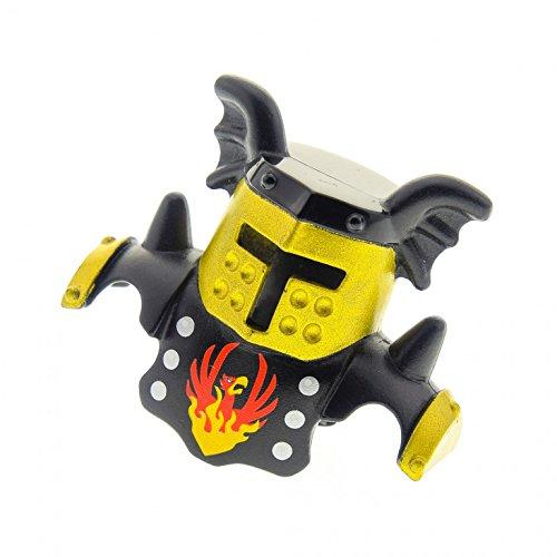 1 x Lego Duplo Ritter Figur Helm schwarz gold mit Feuervogel Phoenix für Burg Castle Rüstung 4785 51727pb04