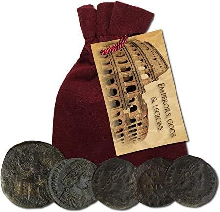 IMPACTO COLECCIONABLES Monete antiche - Raccolta di 5 Monete di imperatori, dei e legioni