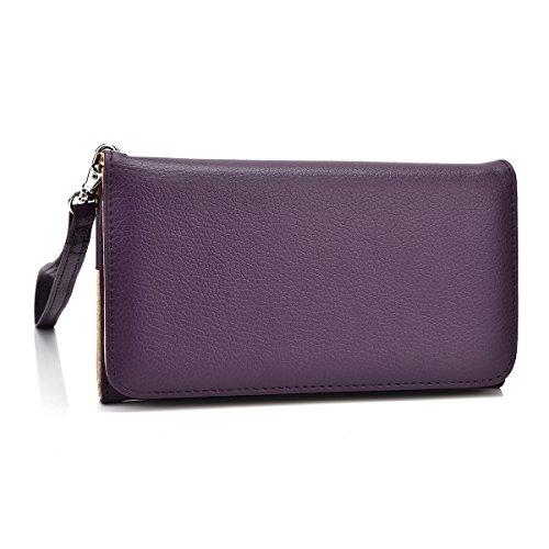 Kroo ESAMWLB1 Schutzhülle aus Epi-Leder für Smartphone, Klassische Handtasche, Up to 4 Inch, dunkelviolett
