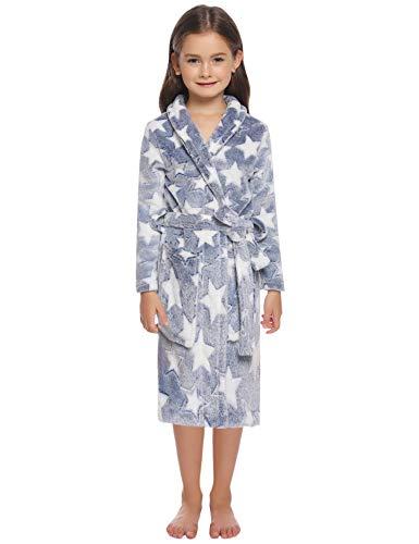 Hawiton Peignoir Flanelle Robe de Chambre avec Double Poches Manche Longue Dessin Étoiles pour Fille et Garçon, Bleu, 6