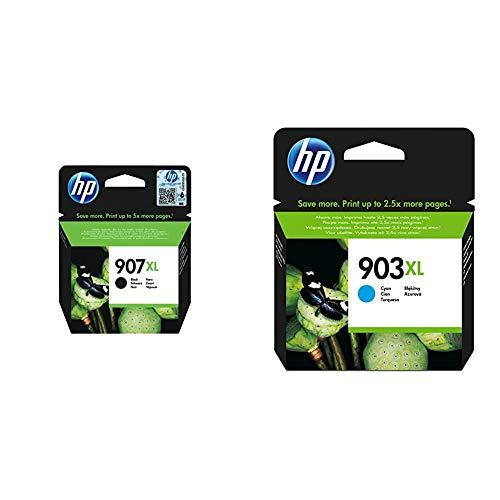 HP 907XL T6M19AE, Negro, Cartucho de Tinta de Alta Capacidad Original, compatible con impresoras de inyección de tinta + 903XL T6M03AE, Cian, Cartucho de Tinta de Alto Rendimiento Original