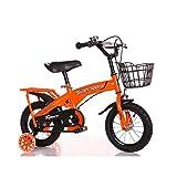 DDXY-Bicicleta de Acero Al Carbono de Fuerza para Niños con Estabilizadores Frenos y Campana,Naranja,16 Inch