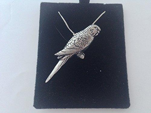 Prideindetails B41 Halskette mit Wellensittich-Anhänger aus echtem 925er Sterlingsilber, handgefertigt, 40,6 cm lange Kette, mit Geschenkbox