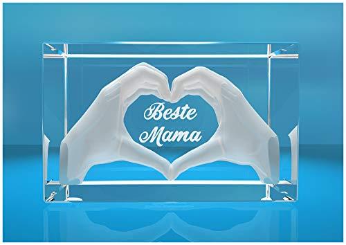 VIP-LASER 3D Glas Kristall mit Gravur I Herz aus zwei Händen I Text: Beste Mama! I Das tolle Geschenk zum Muttertag, Geburtstag Weihnachten