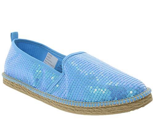 City Walk Schuhe Slipper modische Damen Espadrilles mit Pailletten Sommer-Schuhe Halbschuhe Türkis, Größe:40