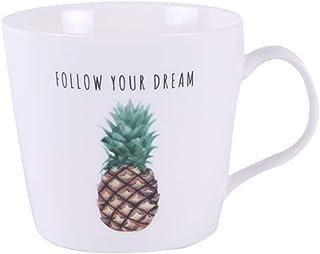 UPKOCH 1pc Ceramic Printed Mug Juice Cappuccino Coffee Milk Mug Drinking Cup Gift for Birthday Anniversary Christmas Valen...