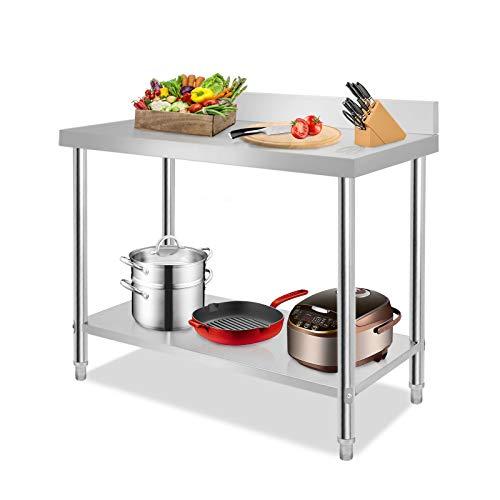 Aufun Edelstahl Arbeitstisch mit Zwischenbord Profi Gastro Küchentisch Edelstahltisch Zerlegetisch Tisch mit Aufkantung 100 x 60 x 85 cm