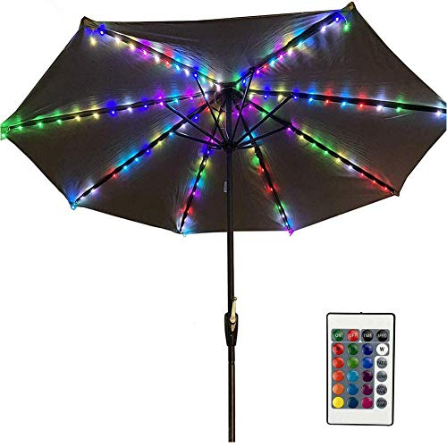 Luci per Ombrellone per Esterni con USB Porta, Catena Luminosa Esterno con Telecomando e Timer, 104 LEDs, 16 Colori RGB, 4 Modalità, Luce Decorative per Ombrellone a Braccio per Giardino Festa