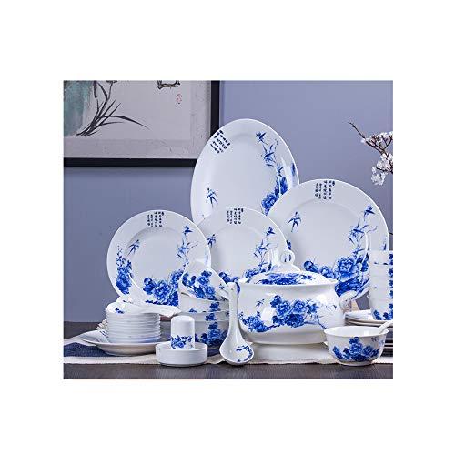 SBL 56 Palace Pfingstrose Bone China Besteck, Glasschale Set Teller Teller Keramik Set Schüssel,Weiß,56 Kopf