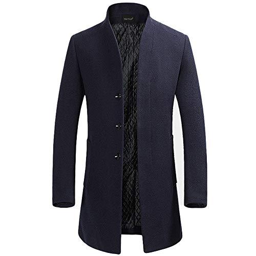 Chaqueta de Hombre de Chaqueta Cortavientos de Lana Solapa de Lana Abrigo Largo Hombres cálido Invierno Trinchera Outwear botón Elegante, Azul Marine(design 2), XS
