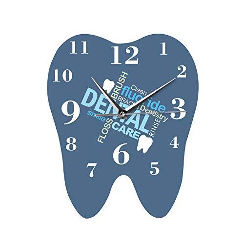 yage Reloj de Pared en Forma de Diente con Palabras dentales, Reloj de Pared Profesional para Dentista, Adorno Decorativo para clínica, Regalo para Cirujano de ortodoncia Dental