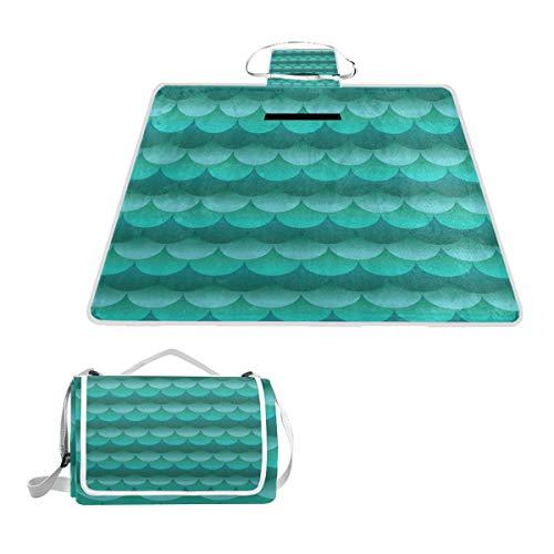 GEEVOSUN Picknickdecke Wasserdicht,Schöne türkis blaugrüne grüne Blaue Squama,für den Außenbereich,faltbar,Picknick-Matte für Strand,Camping,Wandern