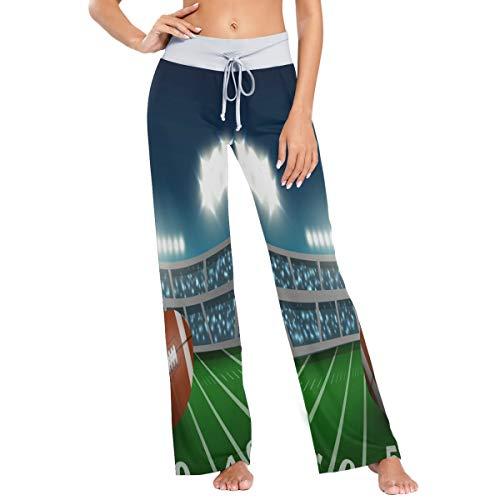 MNSRUU American Football Damen Pyjamahose Stadion Ball Grass Casual Stretch Hose Weites Bein Gr. X-Large, mehrfarbig