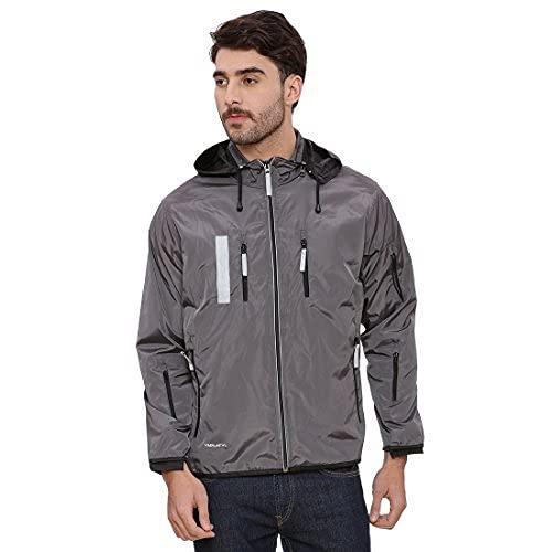 VERSATYL Men's Lightweight Travel Jacket with 18 Pockets and 29 Features – Hooded, Water-Resistant, Hidden Pocket, Full Sleeves, Packable, Full-Zip Windbreaker Coat (Grey and Black, S)