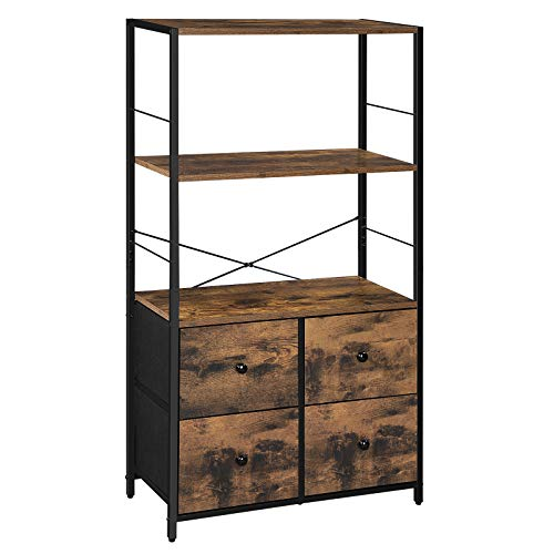 SONGMICS Rustic Storage Cabinet, Storage Rack with Shelves and Fabric Drawers, Industrial Bookshelf in Living Room, Study, Bedroom, Multifunctional, Rustic Brown and Black ULGS044B02