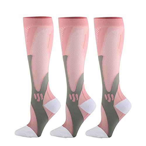 KSHYE 3 Pares de Calcetines de compresión 20-30 mmHg Cómodo Atlético Nylon Medias Medias de Enfermería Correr Correr (Color : 3 Pairs of Pink, Size : XXL (42-46))