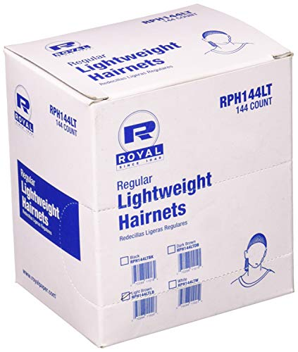 Royal 24' Light Brown Light Weight Hairnet, Disposable and Latex Free, Package of 144