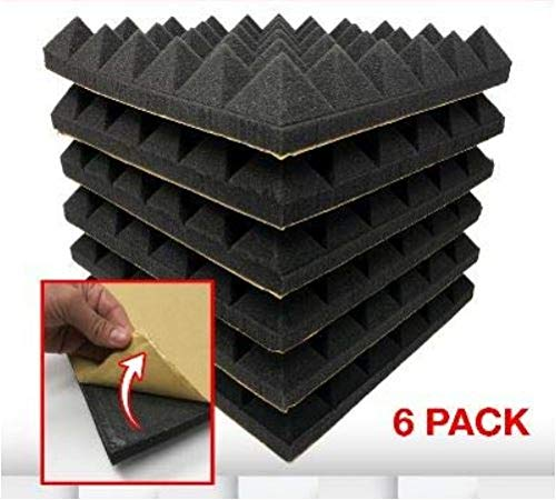 RESON8 Acoustic Foam | DIY easy PEEL AND STICK foam adhesive | Sound Foam Panels | 2x12x12 Pyramid Shape Acoustic Tiles | 6 pack | Soundproofing (Black)
