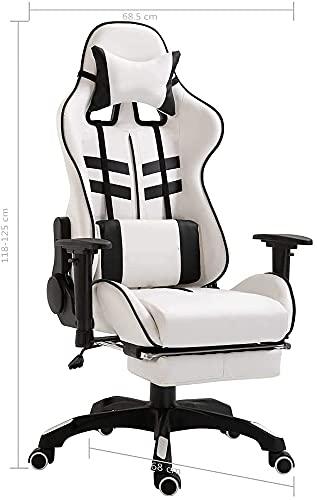 Sillas de juego, silla de juego con reposapiés, silla ergonómica de ordenador para oficina en casa, con reposapiés expandible, reposacabezas ajustable y soporte lumbar (color negro)